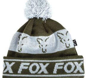 FOX COLLECTION FLEECE LINED BOBBLE GREEN/SILVER HAT