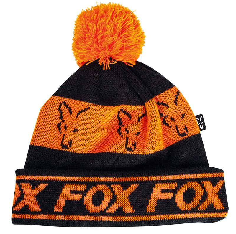FOX COLLECTION FLEECE LINED BOBBLE BLACK AND ORANGE HAT